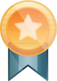 Gold badge with a star in the center