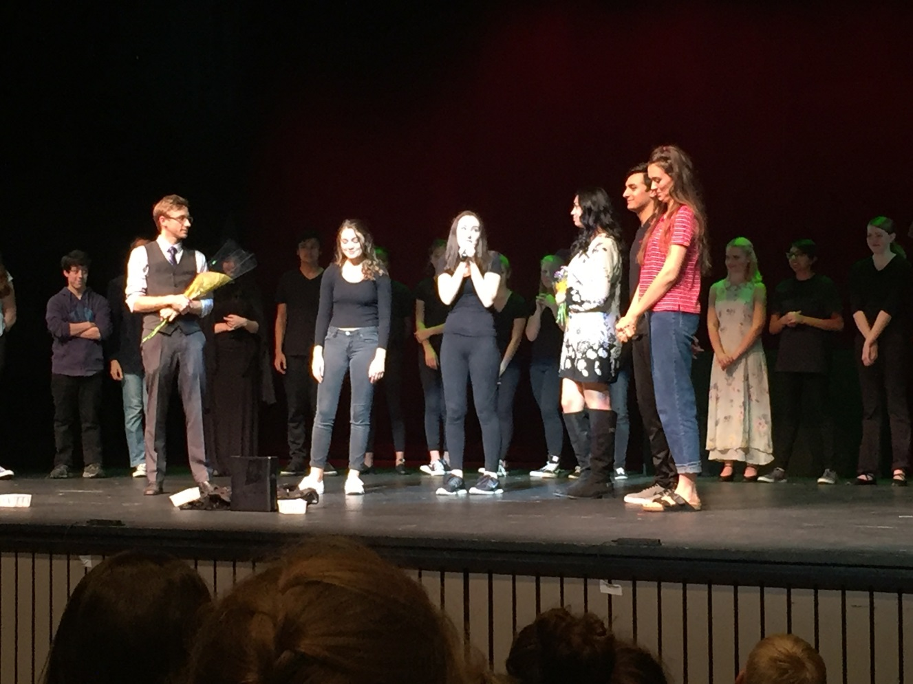 Students at the end of the Chemo Girl play.