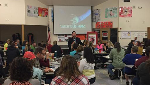 Switch your thumbs presentation at Liberty Middle School