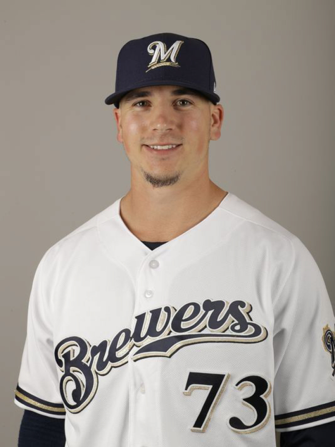 Taylor Williams pictured in his Brewers uniform.