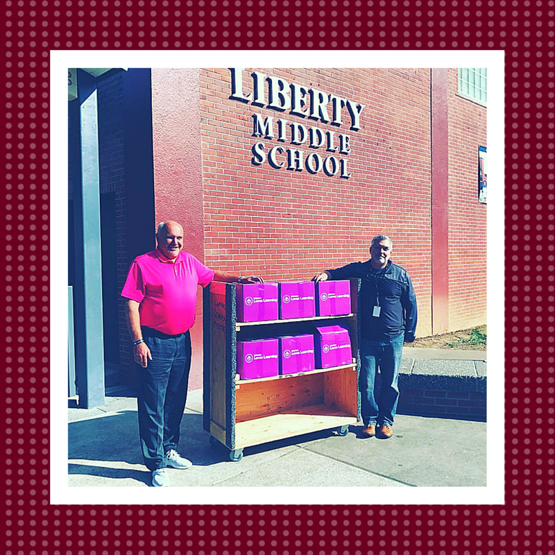 Liberty Middle School receives donation of science books from Gresham Subaru