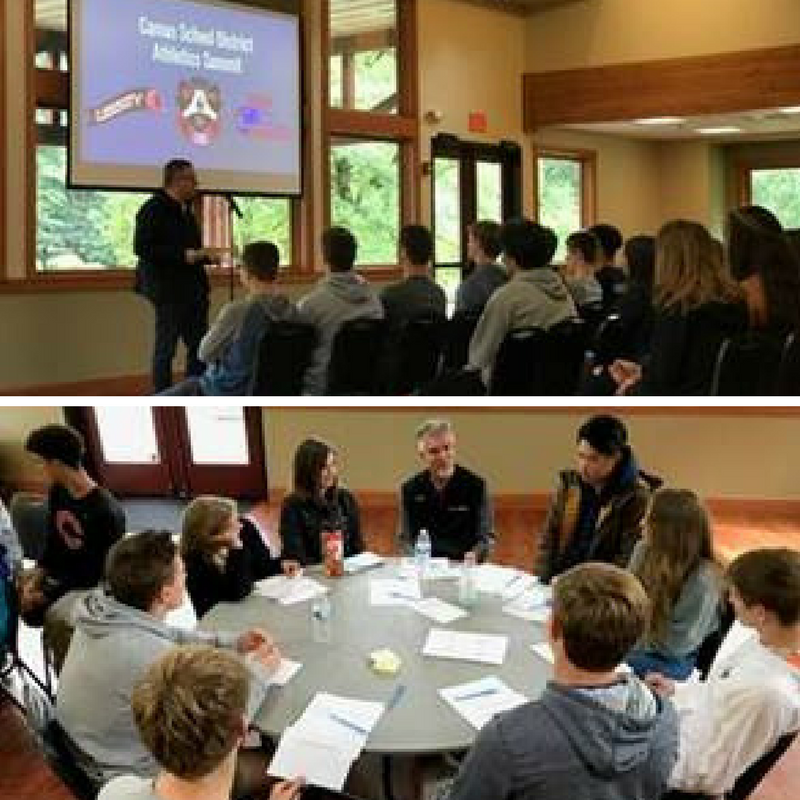Photos of scholar-athletes at Lacamas Lake Lodge to talk about servant leadership