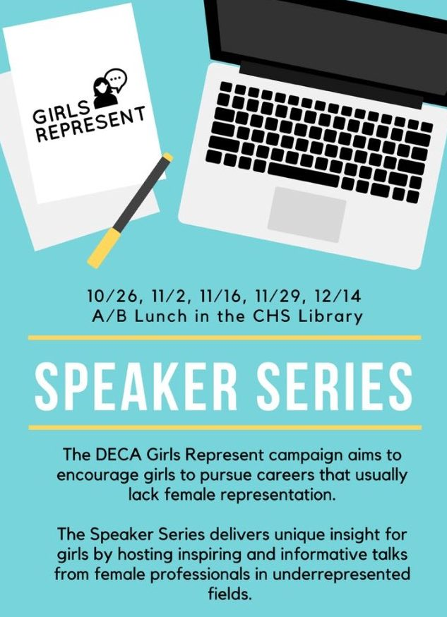 Graphic on the DECA Girls Represent speaker series