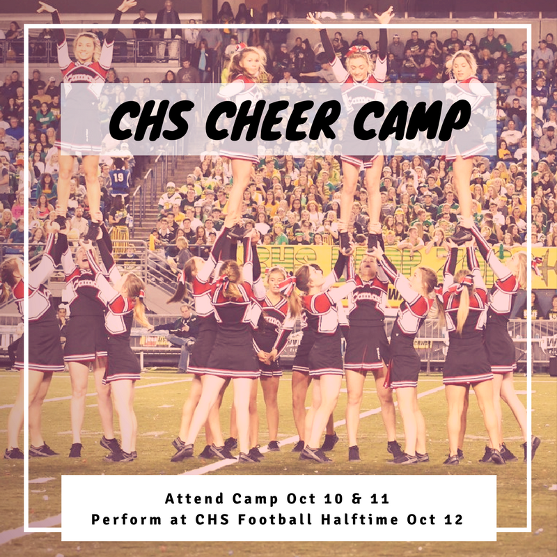 Photo of CHS Cheerleaders with camp info