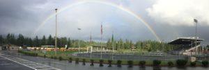 Rainbow over Doc Harris Stadium