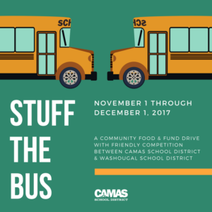 School buses face off during Stuff the Bus fund & food drive