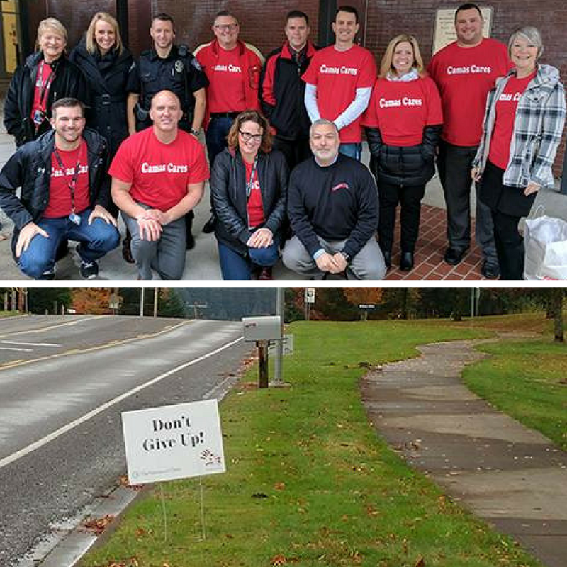 "Pictures of CSD leaders in ""Camas Cares"" shirts and a photo of a ""Don't Give Up"" sign along the road"