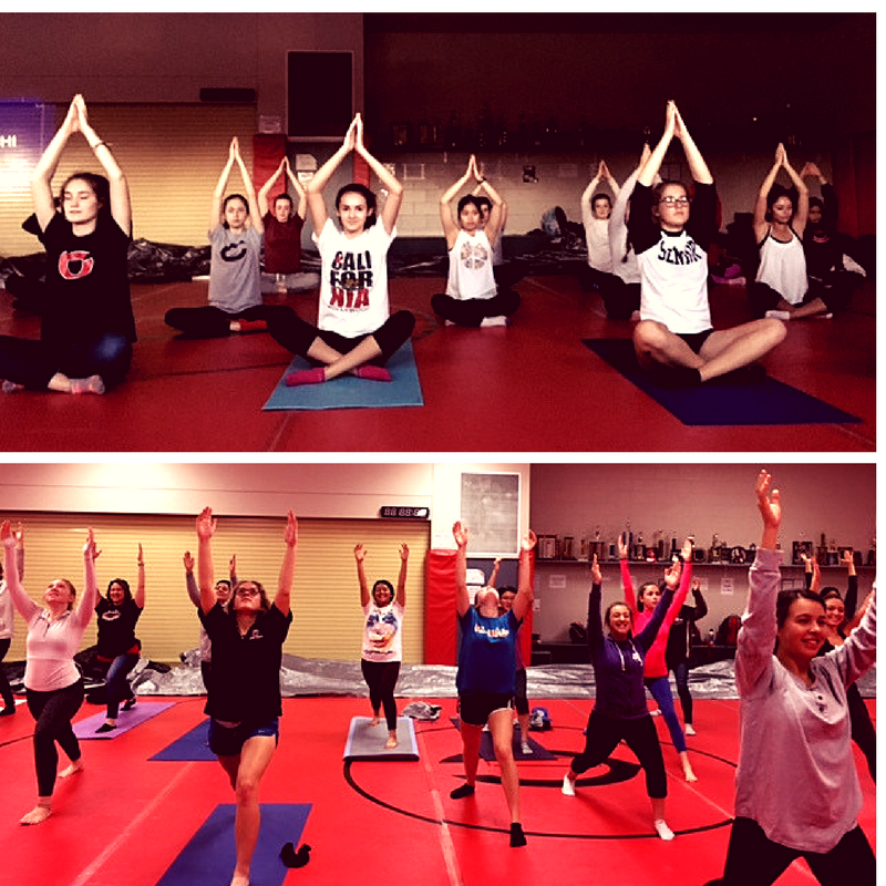 Students strike yoga poses during a recent gathering of the CHS Yoga Club