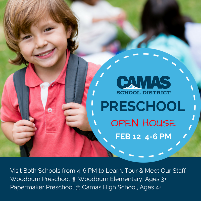 Camas School District Preschool Open House: Feb 12, 4-6 PM