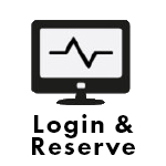 Computer monitor with the words Login & Reserve.